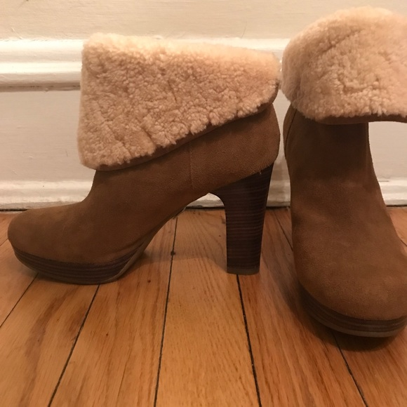 ee09b8a1644 UGG LEATHER CUFFABLE ANKLE HIGH HEEL BOOTS